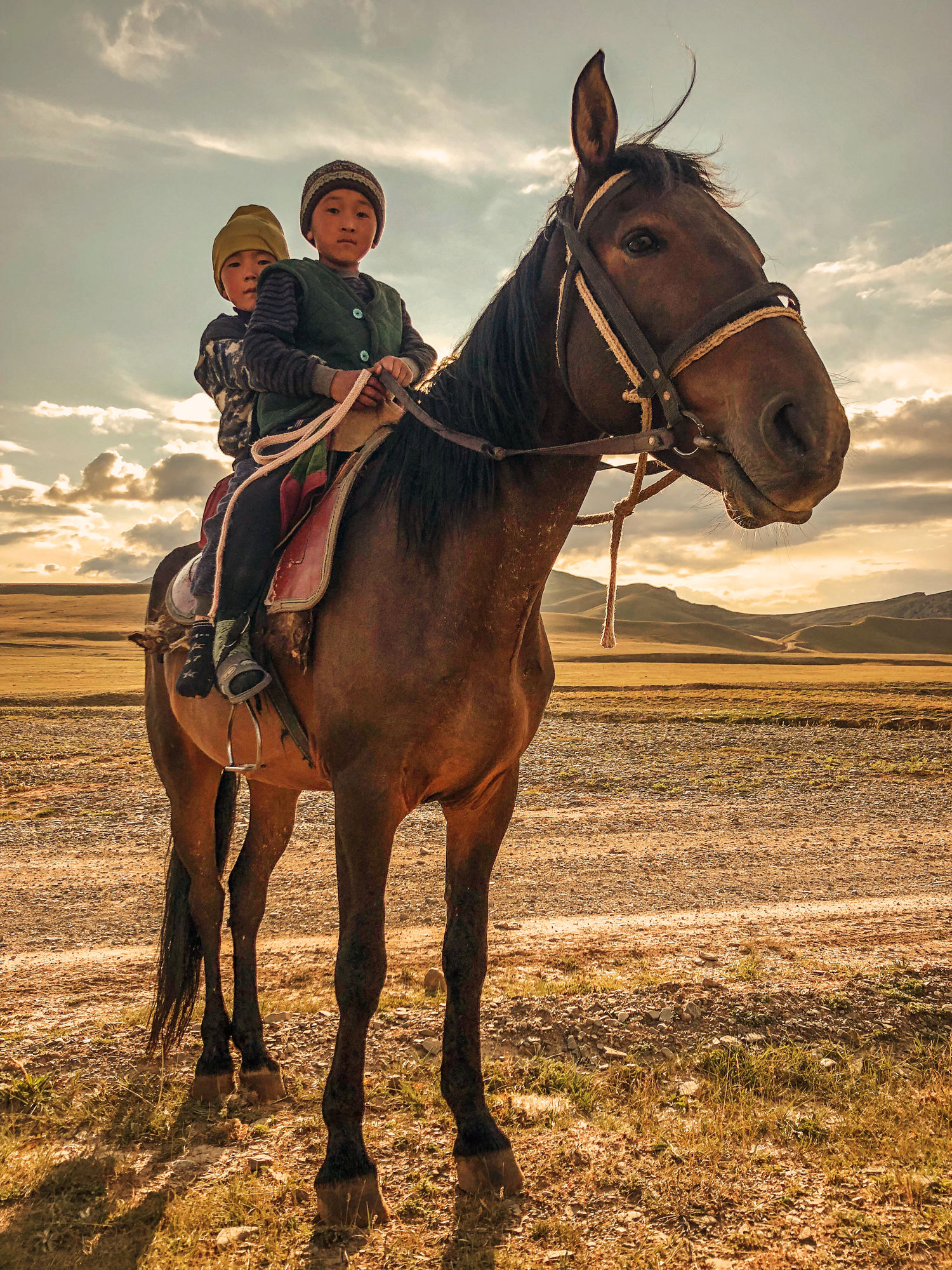 Kids on a horse.