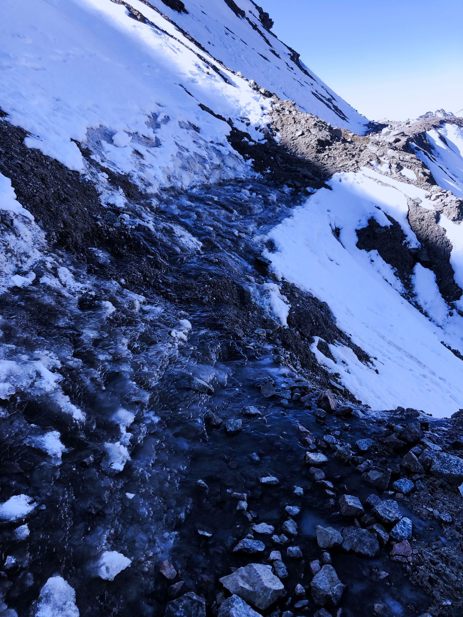Icy section on Tong Pass.