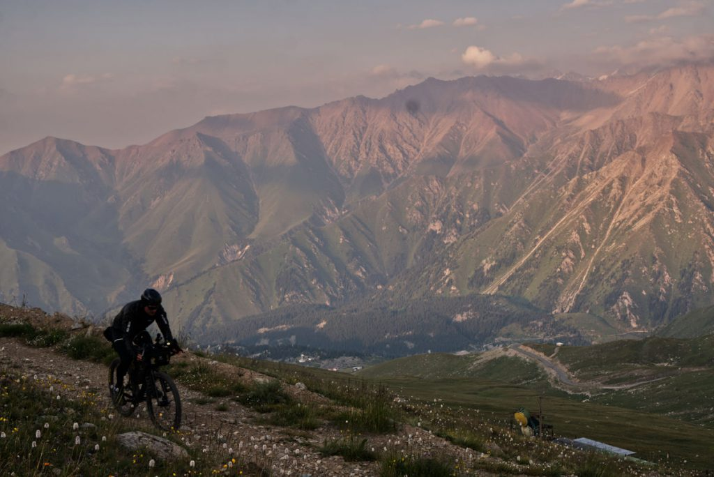 Riding on top of the mountains.